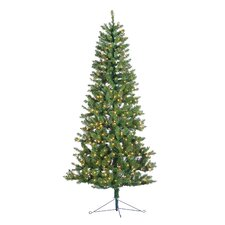 7' Green Spruce Artificial Christmas Tree with 300 Incandescent Clear Lights