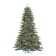 Reno 7.5' Green Pine Artificial Christmas Tree with 100 Incandescent Multicolor Lights