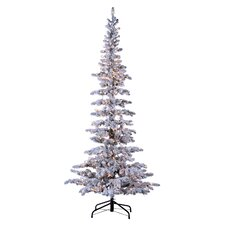 Austin 7.5' White Pine Artificial Christmas Tree with 100 Incandescent Multicolor Lights