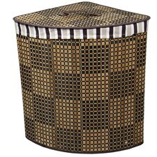 Checker Print Bow Front Bamboo Corner Laundry Hamper