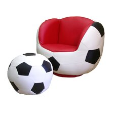 Soccer Sports Kids Novelty Chair and Ottoman