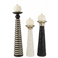 African Craft 3 Piece Candle Holder Set