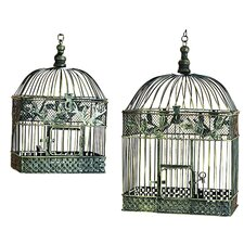 2 Piece Metal Bird Cage Set