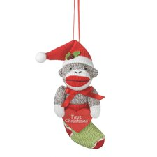 """Specialty """"First Christmas"""" Sock Monkey in Stocking Ornament"""
