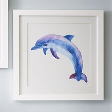 Dolphin Watercolor Sea Mammals Framed Print