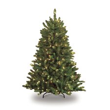 4.5' Green Artificial Christmas Tree with 250 Clear Lights with Stand