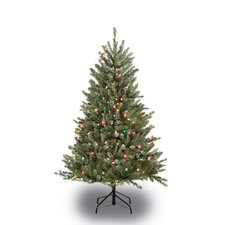 4.5' Green Artificial Christmas Tree with 250 Multi Lights with Stand