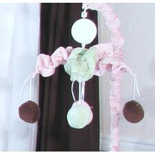 Minky Pink Chocolate Polka Dot Musical Mobile