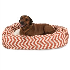 Chevron Sherpa Bagel Bolster Dog Bed