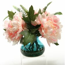 Pink Peonies in Vintage Blue Glass Vase
