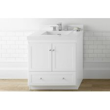 "Shaker 30"" Bathroom Vanity Cabinet Base in White - Frosted Glass Doors"