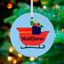 Santa's Sleigh Personalized Ornament by Jill McDonald