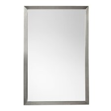 "Contemporary 23"" x 34"" Metal Framed Bathroom Mirror in Brushed Nickel"
