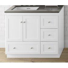 "Shaker 36"" Bathroom Vanity Cabinet Base in White - Wood Doors on Left"