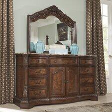 Ledelle 9 Drawer Combo Dresser with Mirror
