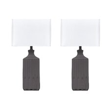 """Patience 25"""" H Table Lamp with Square Shade (Set of 2)"""