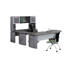 Medina Series U-Shape Computer Desk with Hutch and Curved Desk Extension
