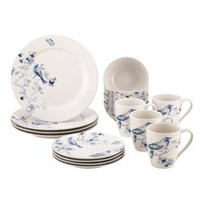 Indigo Blossom Stoneware 16 Piece Dinnerware Set