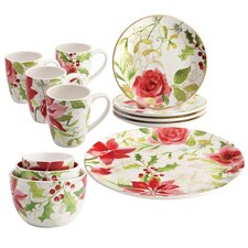 Holiday Floral Porcelain Complete Tabletop 12 Piece Dinnerware Set