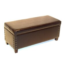 Wood Entryway Storage Ottoman