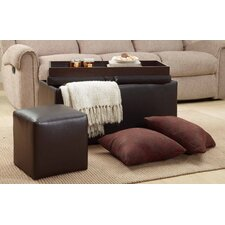 4 Piece Ottoman and Stool Set with Pillows