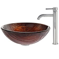 Titania Glass Vessel Sink with Ramus Faucet