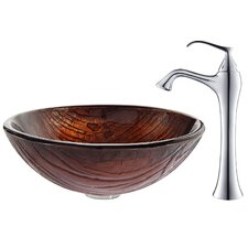 Titania Glass Vessel Sink with Ventus Faucet