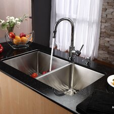 Undermount 70/30 Double Bowl Kitchen Sink with Faucet and Soap Dispenser