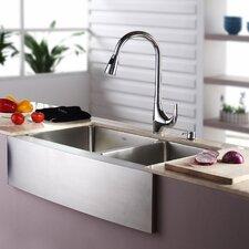 """32.88"""" x 20.75"""" Farmhouse Double Bowl Kitchen Sink with Faucet & Soap Dispenser"""