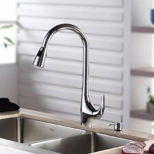 "One Handle Single Hole Kitchen 18.5"" Faucet with Soap Dispenser and Pull Out Sprayer"