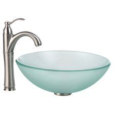 Frosted Glass Vessel Sink and Riviera Faucet