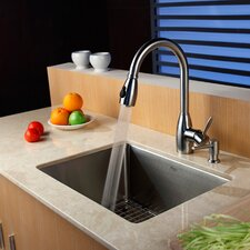"""23"""" x 18"""" Undermount Single Bowl Kitchen Sink with Faucet and Soap Dispenser"""