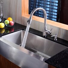 """35.88"""" x 20.75"""" Farmhouse Kitchen Sink with Faucet and Soap Dispenser"""