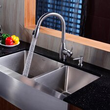 "Farmhouse 35.9"" x 20.75"" Double Bowl Kitchen Sink with Faucet"