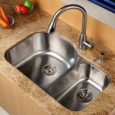 """31.5"""" x 20.5""""  8 Piece Undermount Double Bowl Kitchen Sink Set"""