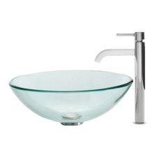 Clear Glass Vessel Sink and Ramus Faucet