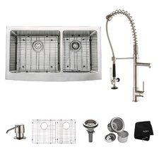 "35.9"" x 20.75"" 8 Piece  Farmhouse Double Bowl Kitchen Sink Set"