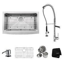"""32.88"""" x 20.75"""" Farmhouse Kitchen Sink with Faucet and Soap Dispenser"""