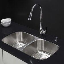 "32.25"" x 18.5"" Undermount Double Bowl Kitchen Sink with Faucet & Soap Dispenser"