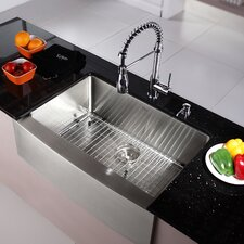 "Kraus 30"" Farmhouse Stainless Steel 29.75"" x 20"" Kitchen Sink with Faucet and Soap Dispenser"