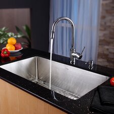 """32"""" x 19"""" Undermount Single Bowl Kitchen Sink with Faucet and Soap Dispenser"""