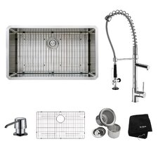 """32"""" x 19"""" Undermount Kitchen Sink with Faucet and Soap Dispenser"""