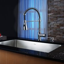 """30"""" x 18"""" Undermount Kitchen Sink with Faucet and Soap Dispenser II"""