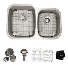 """31.5"""" x 20.5"""" 6 Piece Undermount Double Bowl Kitchen Sink Set"""