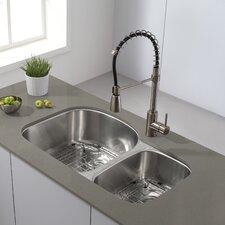 """32"""" x 20.5 Undermount Double Bowl 60/40 Kitchen Sink"""