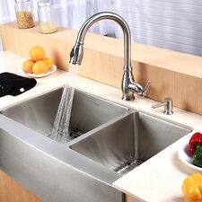 """Farmhouse 33"""" 60/40 Double Bowl Kitchen Sink"""