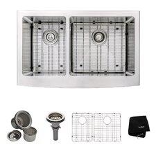 "32.9"" x 20.75"" 6 Piece Farmhouse 60/40 Double Bowl Kitchen Sink Set"