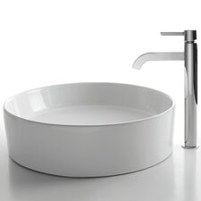 Ceramic Round Bathroom Sink with Ramus Single Lever Faucet