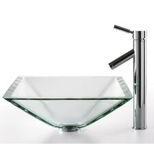 Square Aquamarine Glass Sink and Sheven Faucet