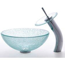"""Broken Glass 14"""" Vessel Sink & Waterfall Faucet"""